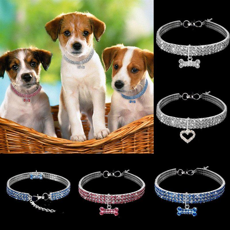 طوق كلب حجر الراين قلادة الحيوانات الأليفة الماس مع مطاطا حبل لمتوسط الصغيرة الكلاب تشيهواهوا الياقات قلادة المقود