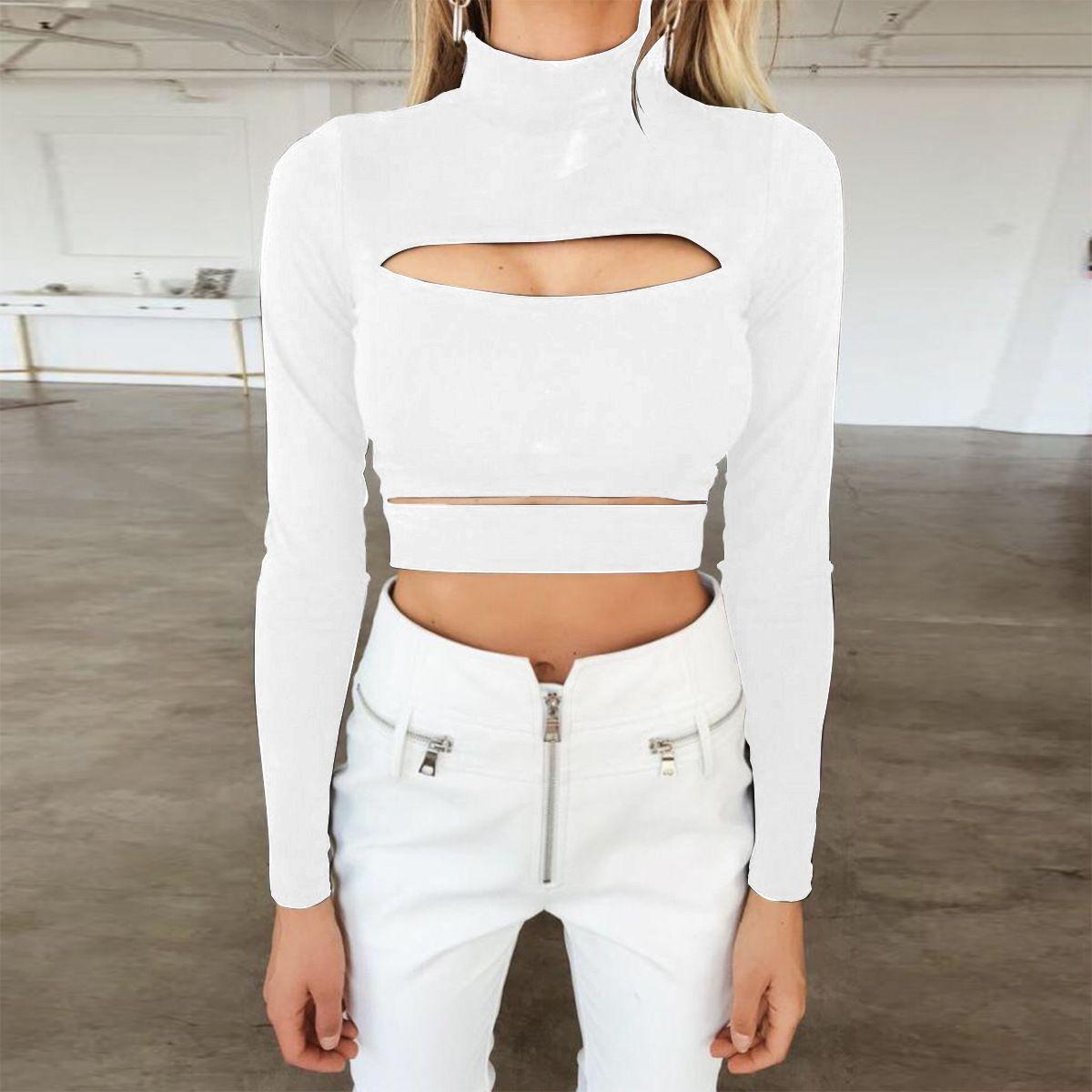 New Sexy Cutout Long Sleeve Women Shirt Turtleneck Solid Women Tops Bottom Shirts Fahsion Sweatshirt White Black Size S-XL