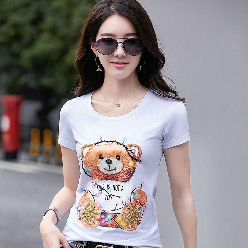 Neue 2019 Sommer Klassische Luxus Pooh Bär Cartoon Gedruckt Perlen Designer T-Shirt Damen Damen Baumwolle Rundhals T-shirt Tops Tees Shirts