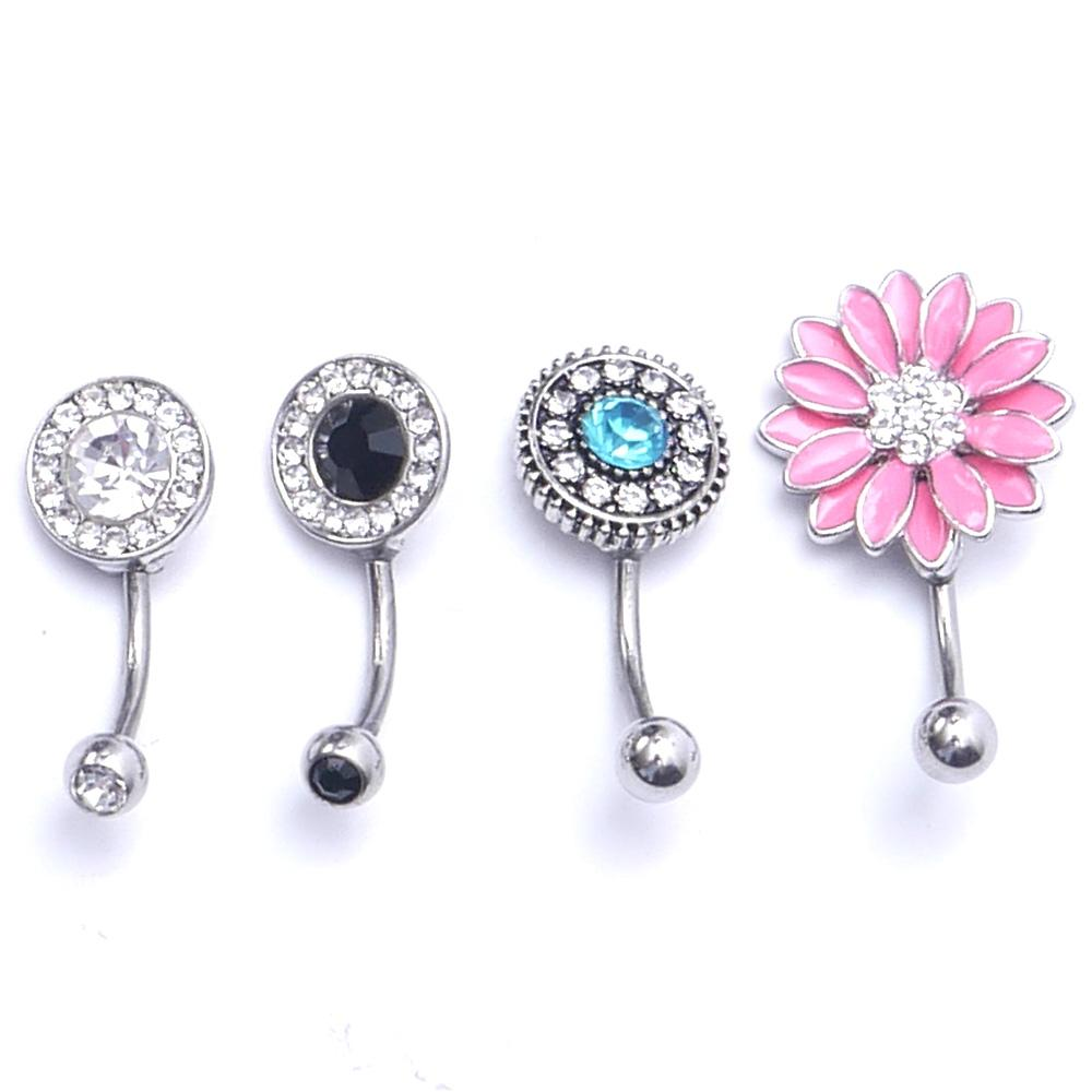 Surgical Stainless Steel Barbell Belly Navel Ring Button Dangle Body Piercing