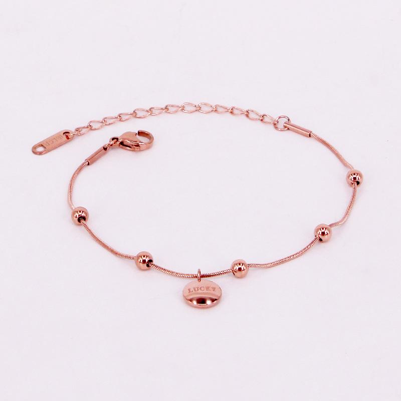 Fashion Stainless Steel Love Lucky Bean Round Snake Chain Charm Bracelets Bangle Rose Gold Color Woman Girl Party Xmas Gift