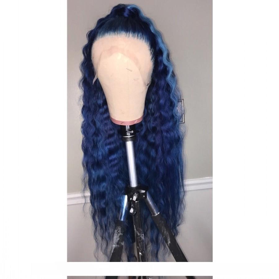 Bir Moda Derin Dalga Dantel Açık Sentetik Peruk Ünlü Stil 360 Dantel Frontal Uzun Mavi Peruk İçin Siyah Kadınlar Preplucked Doğal Saç Çizgisi