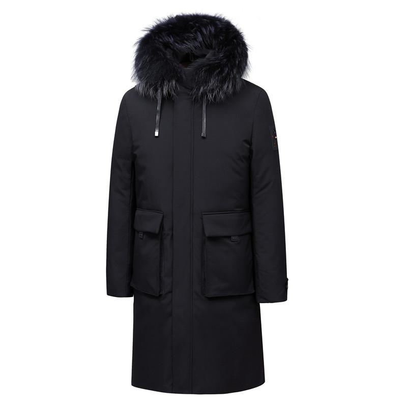 2019 col de fourrure d'hiver nouveaux hommes blancs duvet de canard Veste d'affaires Mode épais chaud long parka et manteaux pour hommes Vêtements Marque