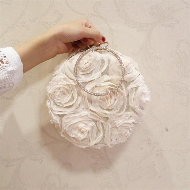 Designer-BEARBERRY 2017 new lace evening bags with chain luxury rose flowers round shaped wedding bags clutch purse drop shipping MN748