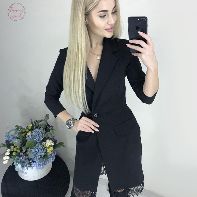 Twill Femmes Dentelle Patchwork Robe élégante Manches longues pour femmes col en V Sexy Party Club robe 2020 Mode d'hiver Robe chemise