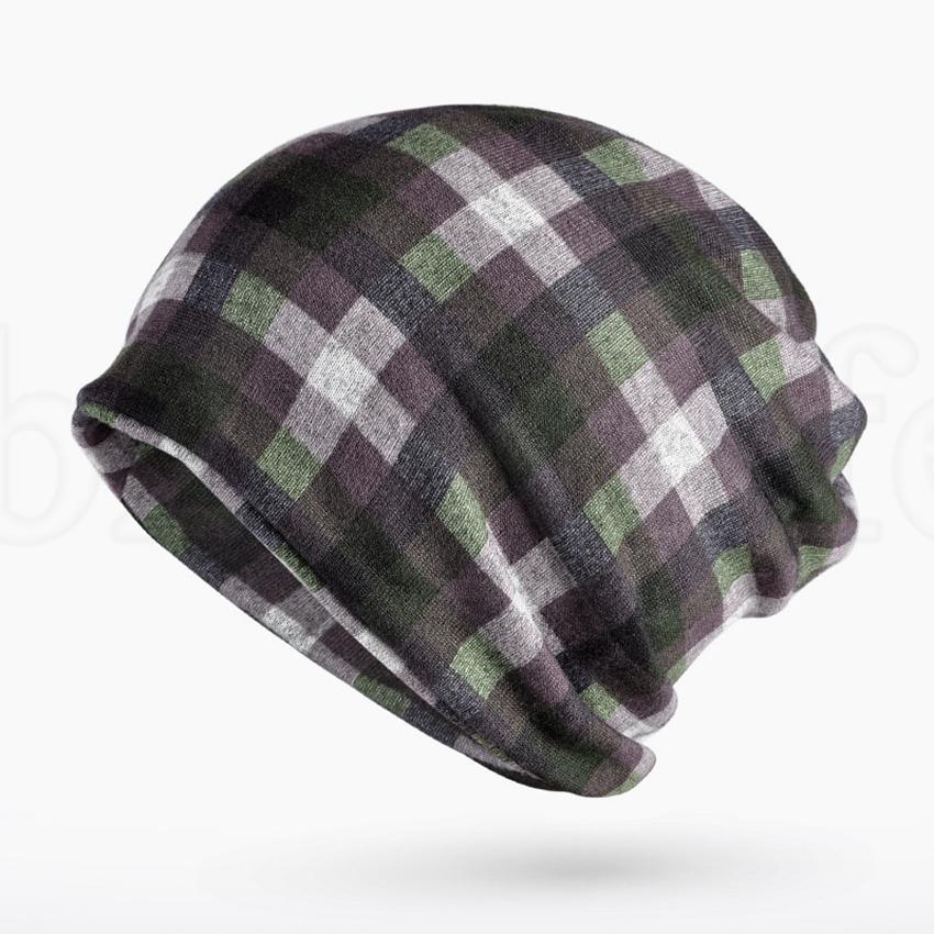 Klassische karierte Hut Mode Winter-Mützen Hüte Frauen Female Zwei Gebrauchte Cap Schal Strick Knochen Hut Warm Skullies Beanies 9 Farben LJJK1874