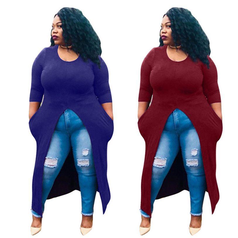Femmes de split casual Midi Robes Poche À Manches Longues ras du cou S-2XL nuit club imprimer jupes Printemps Été Mode casual Vêtements DHL 2583
