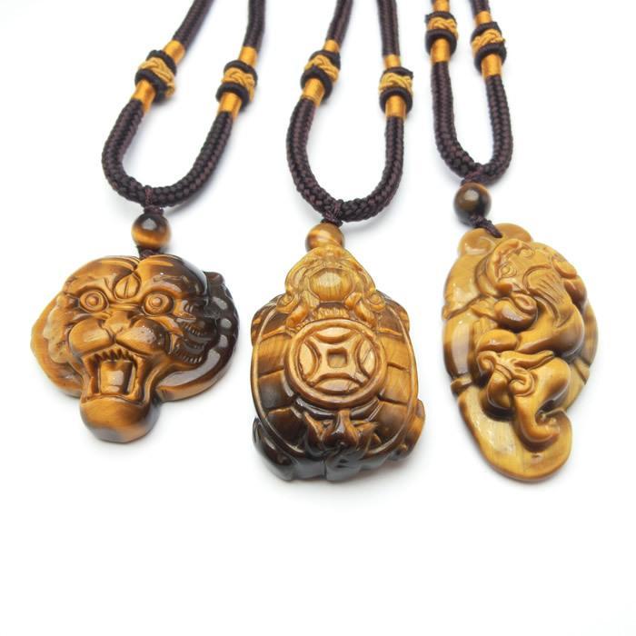 Natural Tiger Eye pedra da tartaruga Colar Pingente Charme Jóias Acessórios de Moda esculpida à mão Homem Mulher Sorte Amuleto