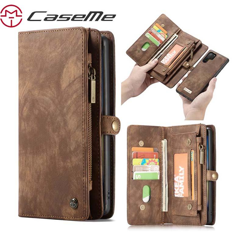 إلى Samsung Galaxy Note 10 Case CASEME Luxury Genuine Flip Zipper Leather Phone Bag لـ Galaxy Note 10 Plus Phone Wallet New