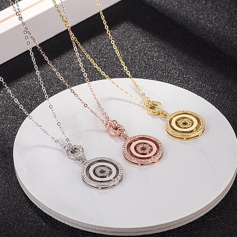 Gioielli in argento sterling S925 durante l'esecuzione di donna collana può trasformare la rotazione del disco di tre catena pendente clavicola all'ingrosso 2019