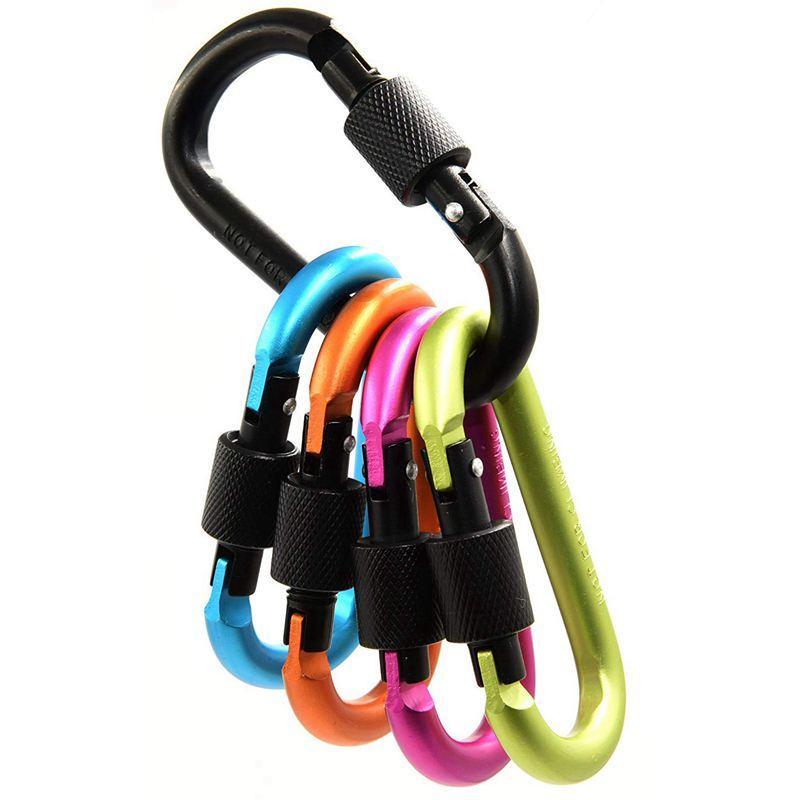 5 unidades D-anillo de llavero de aleación de aluminio mosquetón de seguridad con gancho de clip para el equipo de camping