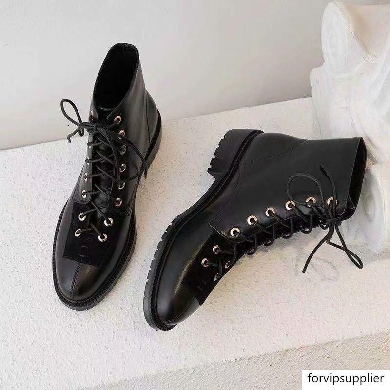 Bottes rétro cheville pour les femmes New Black Cross-Chaussures Femme égalité Chunky talon bas pour femmes Chaussures 2019 lacées court Motorcycle Bottes