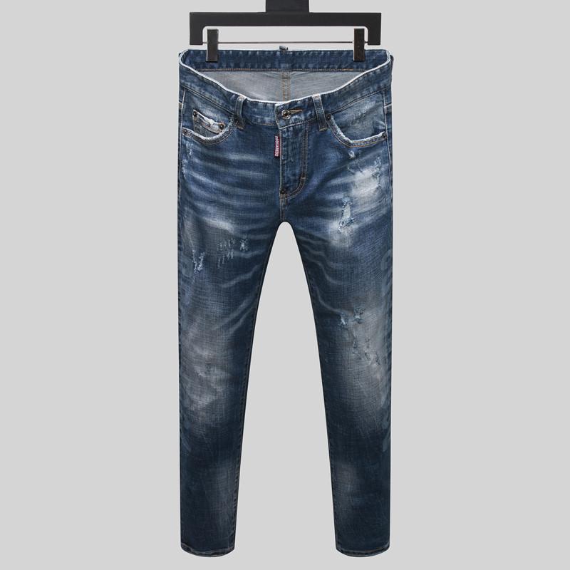 Мужские дизайнерские джинсы Fold мотоцикл штаны Straight Slim Fit Европа и Америка Ripped Hole Омывается Мода мужской тонкими подходят джинсы