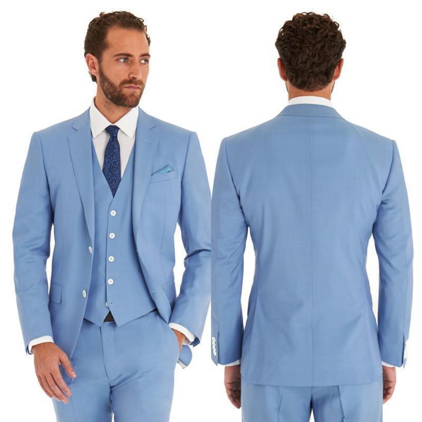 Новый небесно-голубой мужские свадебные костюмы жених смокинги лучший человек Грумман блейзер на заказ мужские костюмы Костюм жениха (куртка + брюки+жилет)