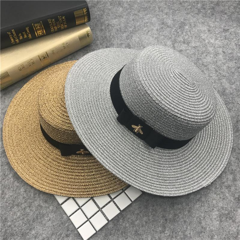 Été Femmes Canotier Chapeau de plage Femme Casual Panama Hat Lady Marque classique Bee Straw Flat Sun Femmes Fedora