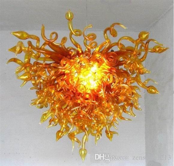 Сшитое Рука выдувное Тень муранского стекла Люстра Свет Светодиодные лампы Hotel Villa Decor Glass Современное искусство Люстра