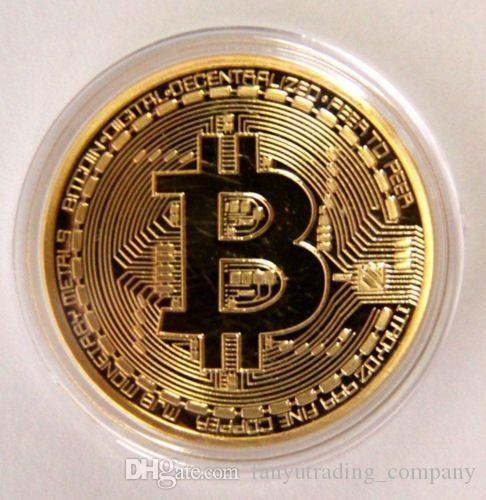 40mm Gold Plated Physical Bitcoins Casascius Bit Coin w// Case Collectible Gift