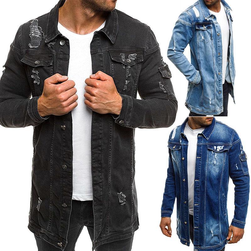 Men Cowboy Coat Autumn Style Beggar Hole Denim Jacket Loose Thin Long Sleeve Cowboy Jacket High Quality Size M-XXXL