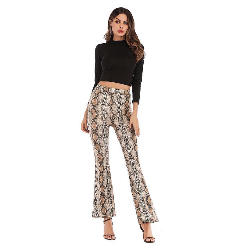2020 primavera Slim Fit fino estampado leopardo Boot Cut Pant Mujer altura de la cintura de la pierna ancha pantalones respirable cómodo Streetwear