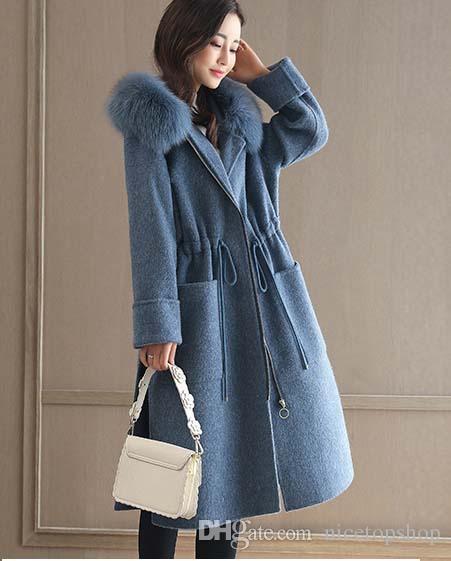 2019 Weihnachtsgeschenk für Büro-Dame-Reißverschluss-Frauen-lange Wollmischung Mantel Umlegekragen Kaschmirjackentaschen Fest Damen Mäntel
