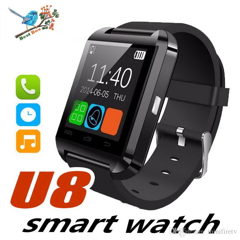 Montre Smartwatch Bluetooth U8 Watch Smartwatch pour iPhone 5S 6 6S 6 plus 7 7s 8 Samsung S6 S7 Note 4 Note 5 HTC Téléphone Android Smartphones