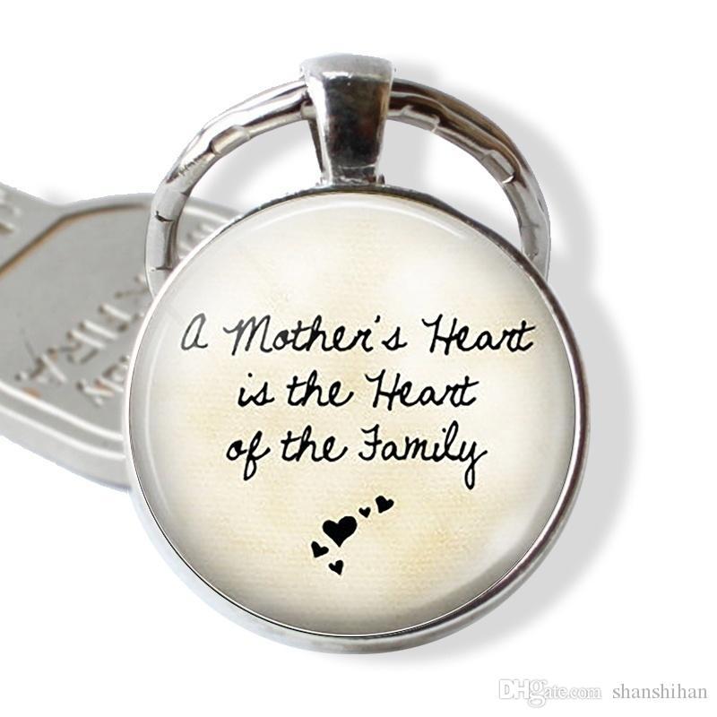El corazón de la madre es el corazón de la familia, la carta Photo Llaveros, cita sentencias clásicas, joyería de cristal colgante, regalo a la madre