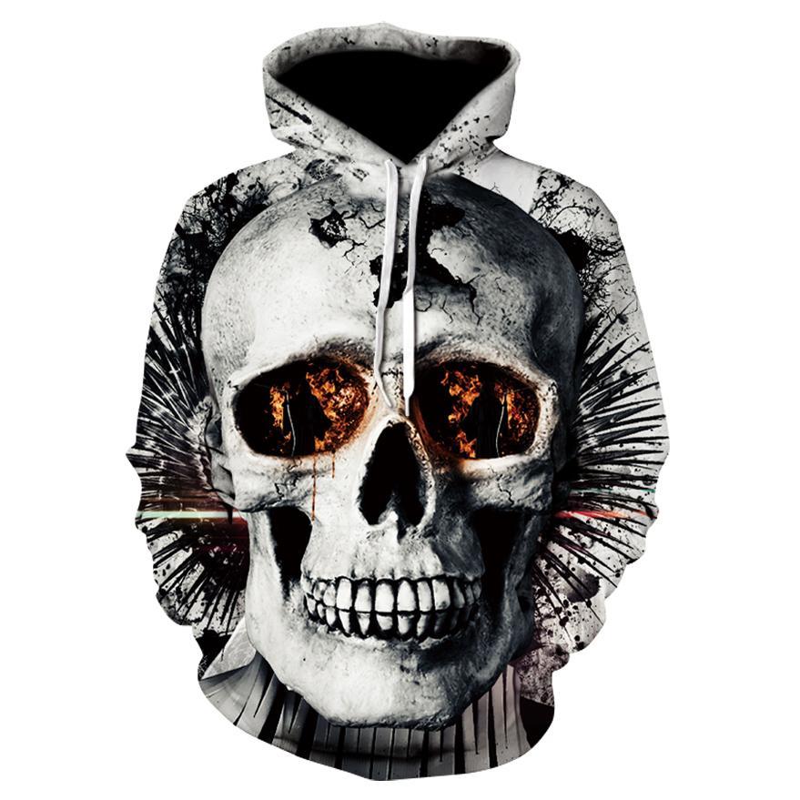 Crânio headr Homens hoodies camisolas 3D Impresso engraçado Hip Hop Hoodies novidade Streetwear revestimentos encapuçados Outono Mlae Fatos T191230