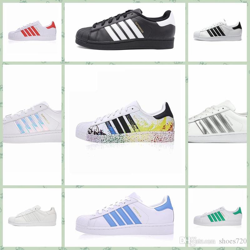 Adidas Original Superstar 2017 Superstar Branco Original Holograma Iridescente Ouro Júnior Superstars Tênis Originais Super Estrela Mulheres Homens Esportes Sapatos Casuais