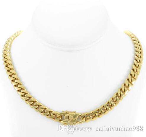 Ligação cubana de Miami dos homens 30 polegadas de ouro 18k real Chain sobre 10mm de aço inoxidável