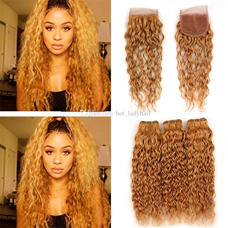 Wet and Wavy Honey Blonde Human Hair Weave Bundles with Lace Closure #27 Light Brown Virgin Peruvian Hair and 4x4 Closure