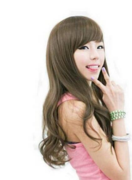 무료 배송 + + 귀여운 소녀 긴 컬리 브라운 파티 가발 / 가발