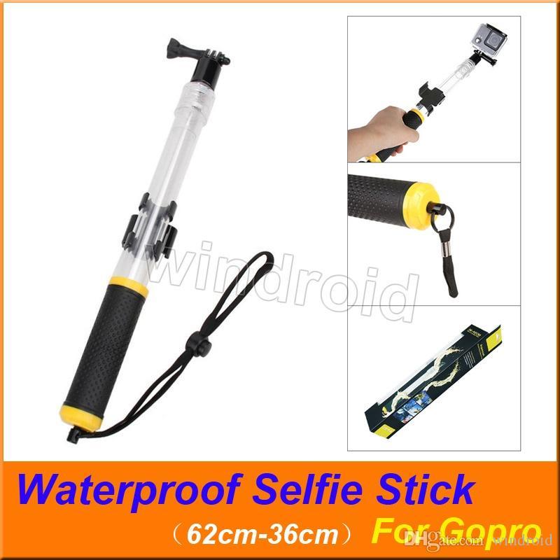 Leve Flutuante Telescópica Monopé Pole À Prova D 'Água Aperto de Mão Selfie Vara para Gopro Hero 7 6 5 Câmera de Ação Preta com caixa de varejo