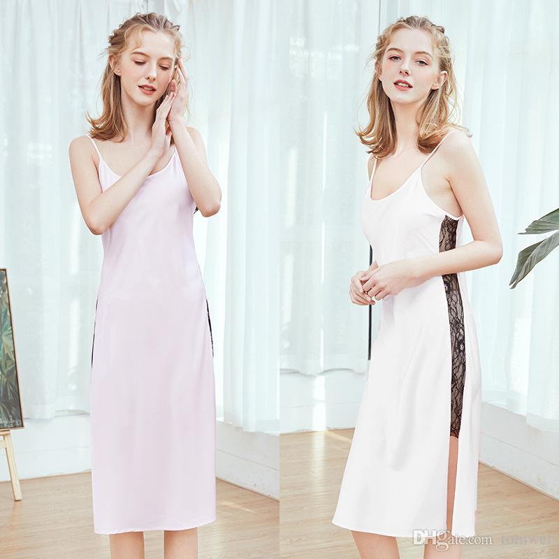 Soie Summer Pyjama Femmes Vêtements De Nuit Sous-Vêtements Longues Chemises De Nuit Robe De Sommeil Dentelle Dos Nu Blanc Rose Rose Dames Vêtements À La Maison