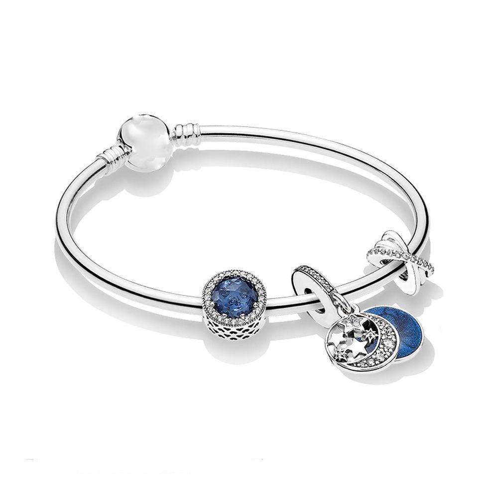 encantos de plata al por mayor de Adecuados para Pandora Europea joyas pulsera del encanto del grano Accesorios de bricolaje de la boda con caja de regalo para Navidad niña