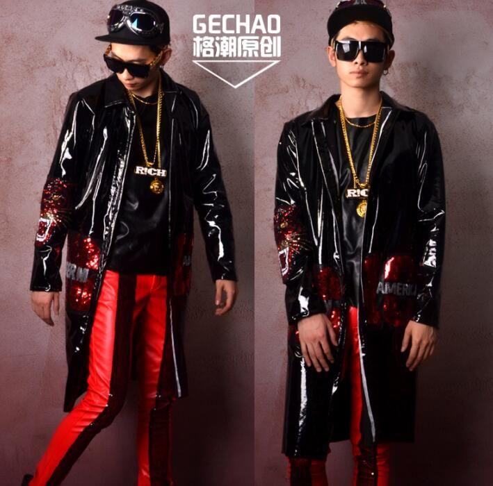 가죽 자켓 남성 의류 남성 재킷 긴 코트 블랙 특허 가죽 장식 조각 천으로 스티커 성격 jaqueta의 masculina
