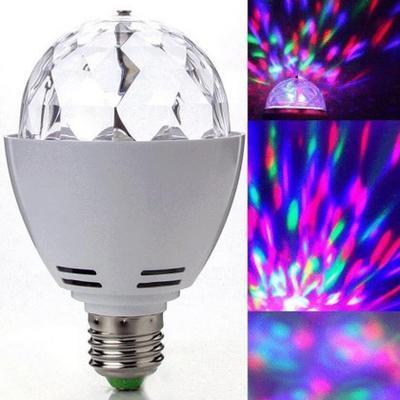 3W E27 RGB 조명 풀 컬러 LED 크리스탈 무대 조명 자동 회전 무대 효과 DJ 램프 미니 무대 조명 전구