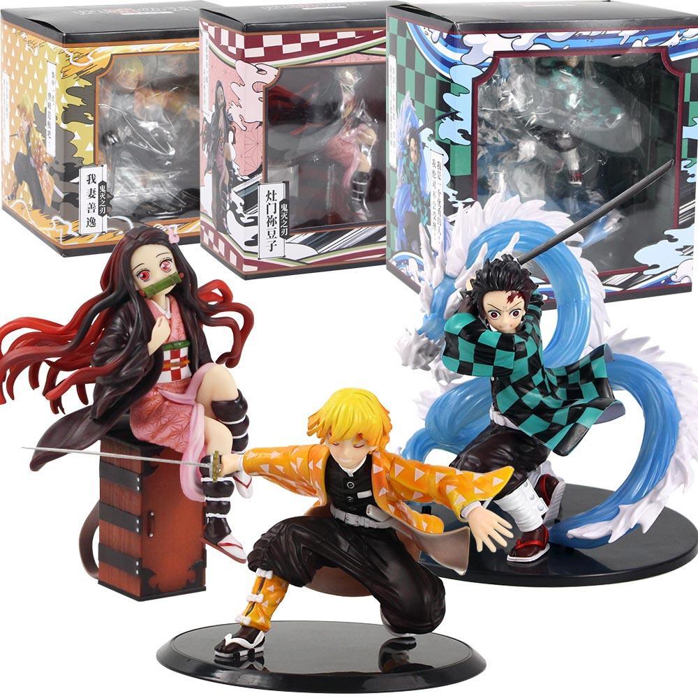 Kimetsu NO YAIBA Figürü Tanjirou Nezuko Zenitsu PVC Heykelcik Oyuncak Anime Demon Slayer Action Figure Değişim Oyuncakları Ejderha