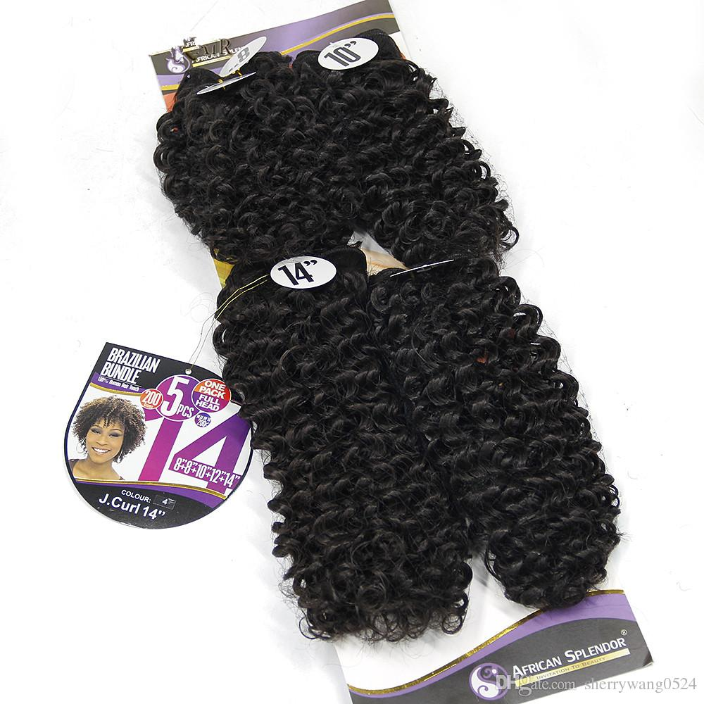 "Synthetic Culry Weave Black Hair 5pcs / PACK 8 ""8"" 10 ""12"" 14 ""pollici Jerry Curly / Diva Curl Estensioni naturali per capelli bagnati ed ondulati per le donne"