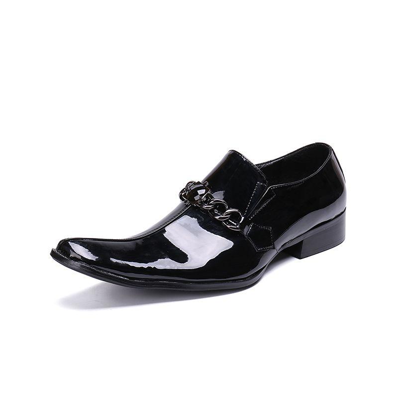 sapatos dedo do pé quadrado Homens da moda negra cadeia Glossy slip-on oxford para o tamanho de casamento homens partido sapatos homens