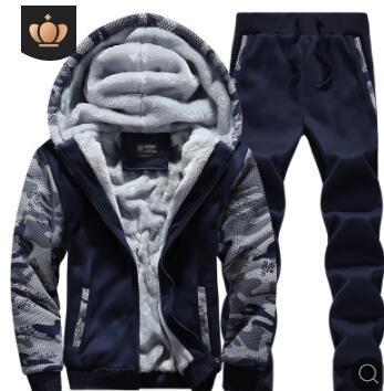 Men's Tracksuits High Quality Mens Winter Thick Clothing Sets Fleece Hooded Jacket Long Pants Tracksuits 2pcs Outfits