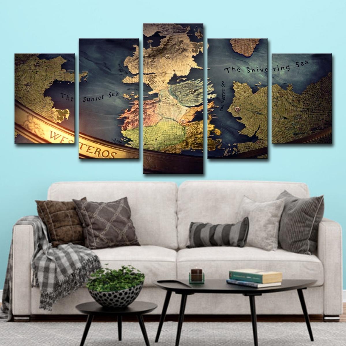 5 ADET Oyun Thrones Haritası Poster Wall Art HD Baskı Tuval Boyama Moda Asılı Resimler