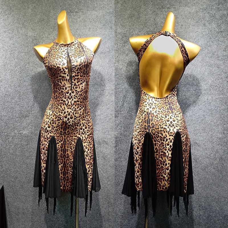 Robe latine Danse manches sexy imprimé léopard Tassel Jupe Femmes Rumba Salsa Tango Cha Cha Ladies Performance Wear
