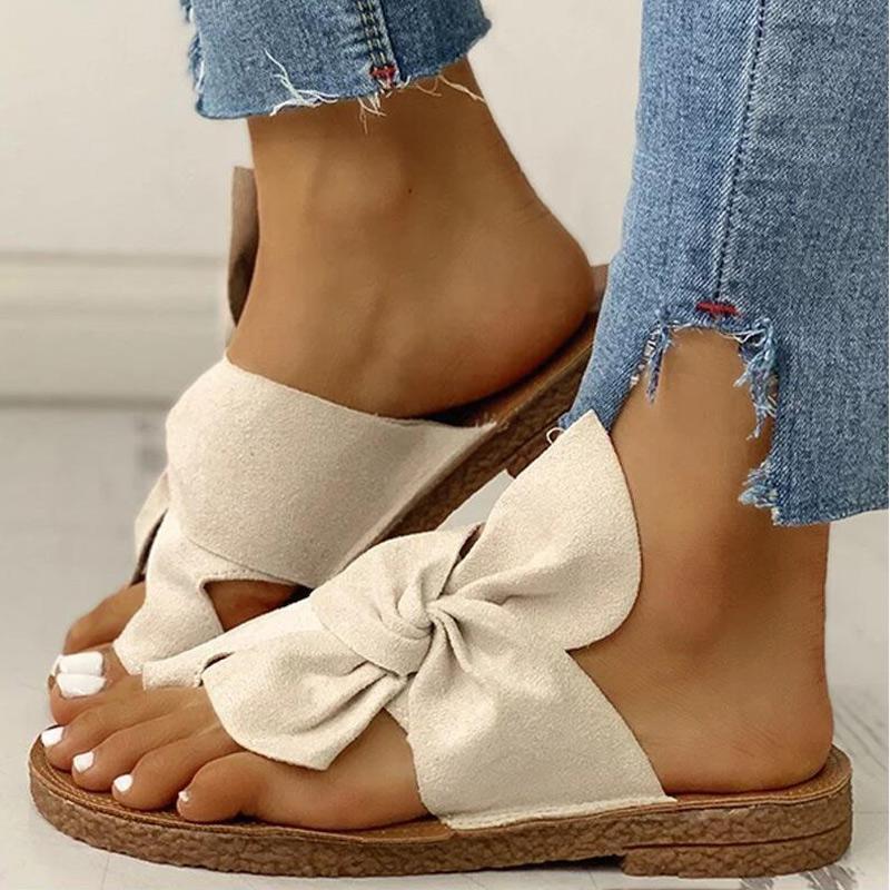 Женщина Вьетнамки Клип Toe Женщины Плоская обувь 2020 Женские Слайды Summer Casual дамы тапочки Flock бант пляж сандалии новые