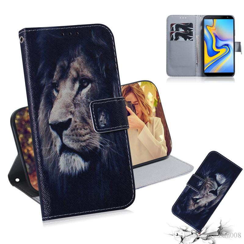 Wallet Case For Samsung Galaxy J6 Plus Filp Cover Hot selling Coloured pattern Wolf tiger lion Owl Dog With Card Slot Design