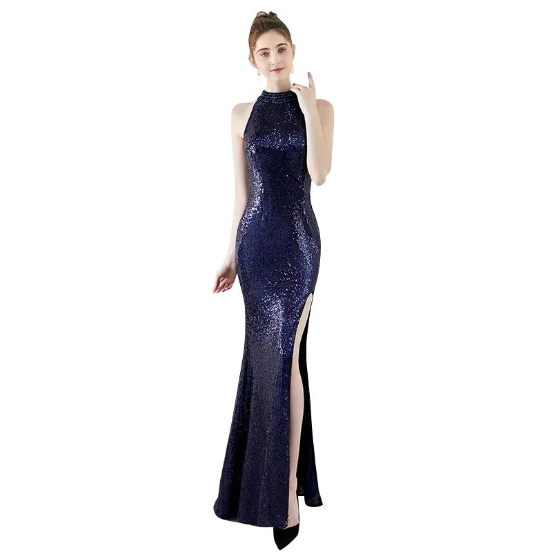 Jewel Neck Sequins Long Split Evening Dresses 2020 Navy Blue Gold Floor Length Prom Gown Bling Party Dress