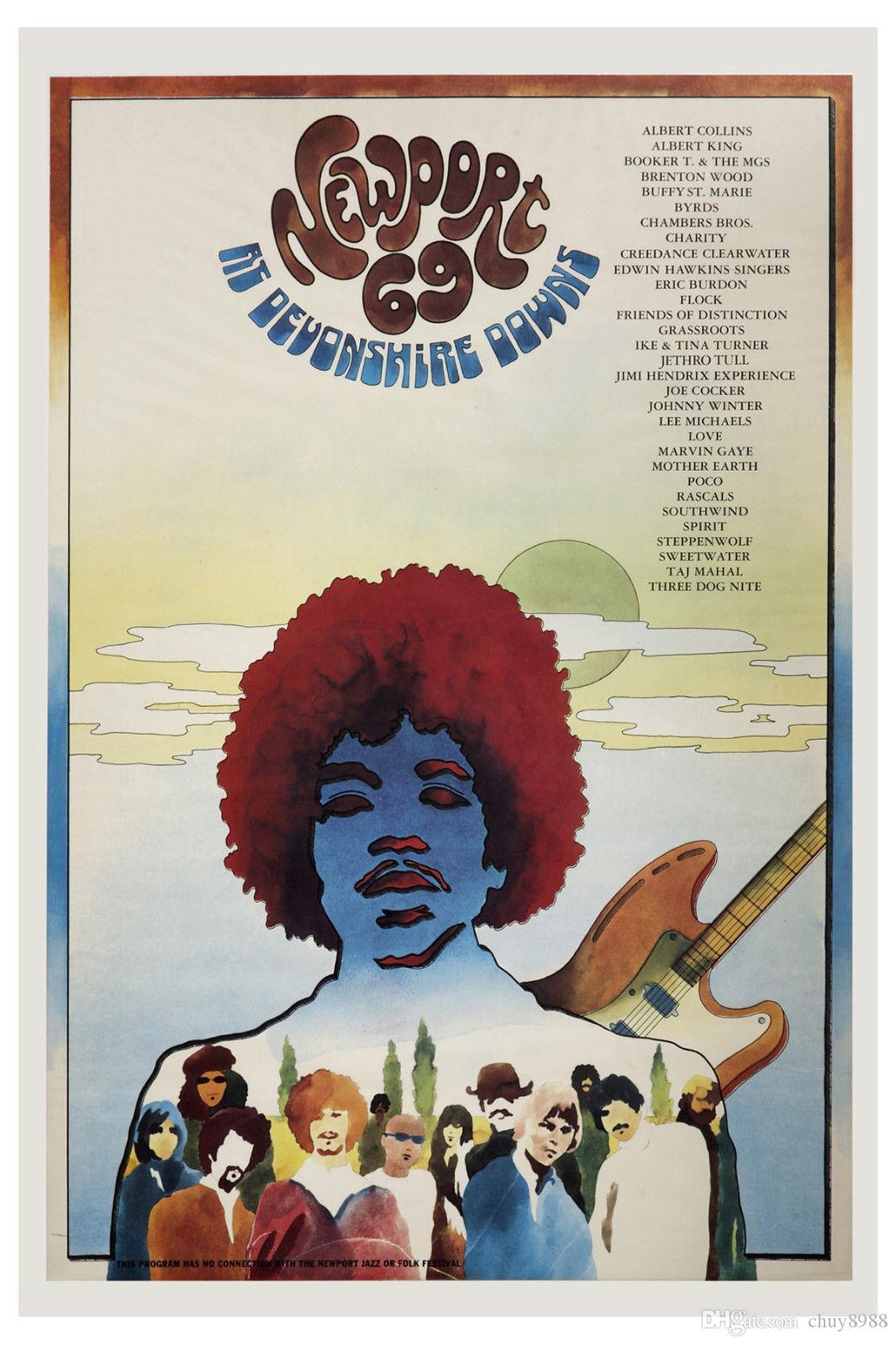 1960's Rock: Jimi Hendrix at Newport 69 at Devonshire Downs Concert Art Silk Print Poster 24x36inch(60x90cm) 018