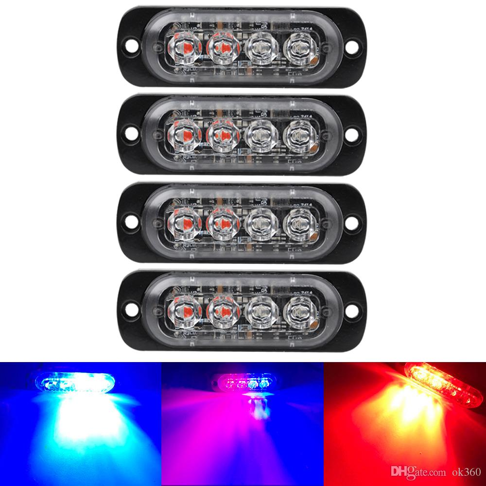 Bright White Giallo Rosso Blu Ambra 4 LED Truck Car Van Beacon Strobe Attenzione Luce lampeggiatore d'emergenza Car-Styling Luce