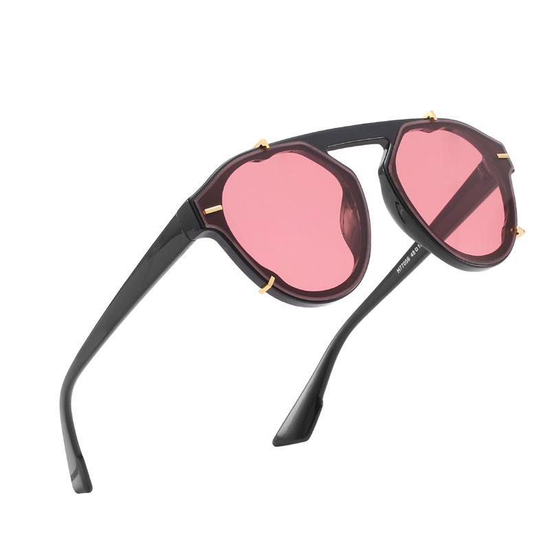 Europäische und amerikanische klassische Mode runde Sonnenbrille Männer und Frauen Modelle genagelt Polygon Sonnenbrille High-End-Männer und Frauen Sonnenbrille