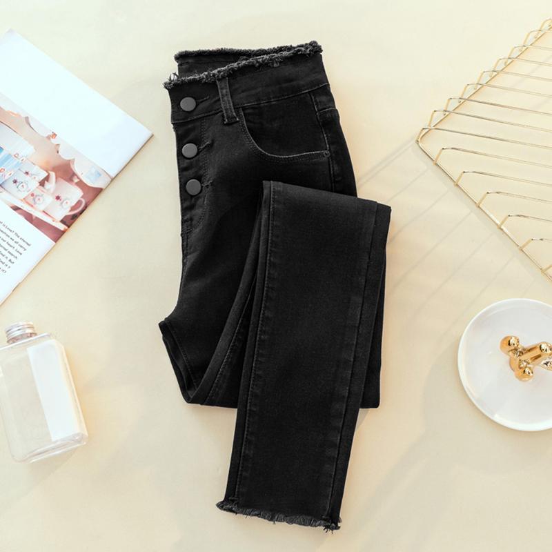 Estiramento Bottoms Jeans Womens Jeans Feminino Denim Pants Negro Cor Donna Feminino Skinny Calças da mulher Calças