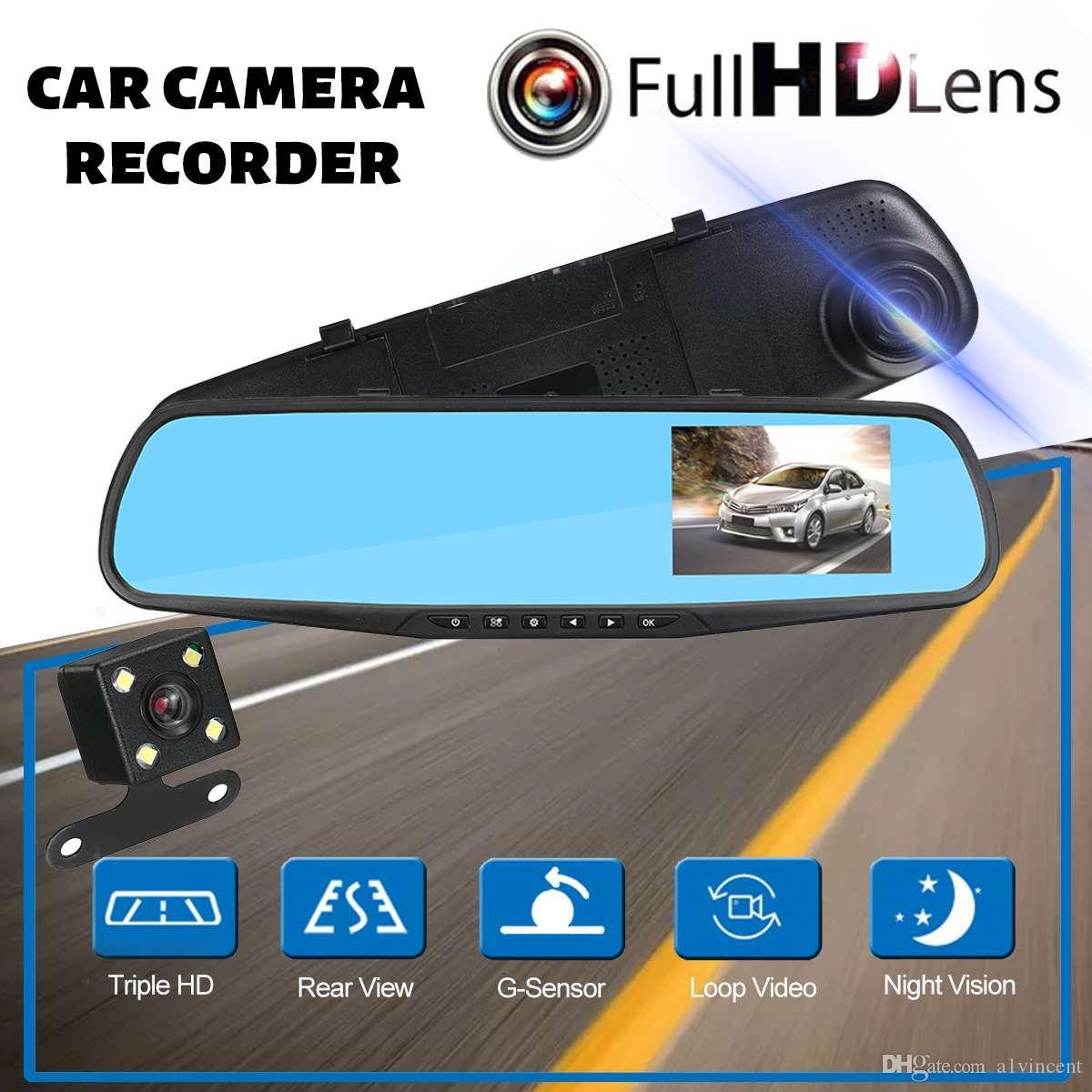 30PCS دي إتش إل HD 1080P 4.3 الكاميرا IPS المزدوج مرآة الرؤية الخلفية سيارة DVR كاميرا فيديو مسجل Registrator اندفاعة كام للكشف عن سيارة
